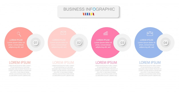 Four colorful elements with linear icons, options or processes. can be used for timeline