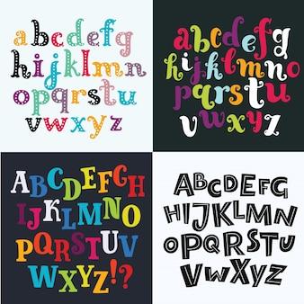 4 개의 다채로운 손으로 그린 영어 알파벳입니다. 위 글꼴, 봄 분위기에 나뭇잎으로 장식 된 하나, abc 꽃 프레임, 글자, 포스터 및 카드를위한 핑크색의 필기 문자 세트