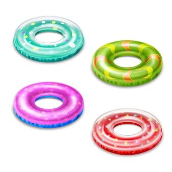 Lifebuoys의 형태로 4 개의 다채로운 풍선 수영 액세서리 격리 된 현실적인 그림