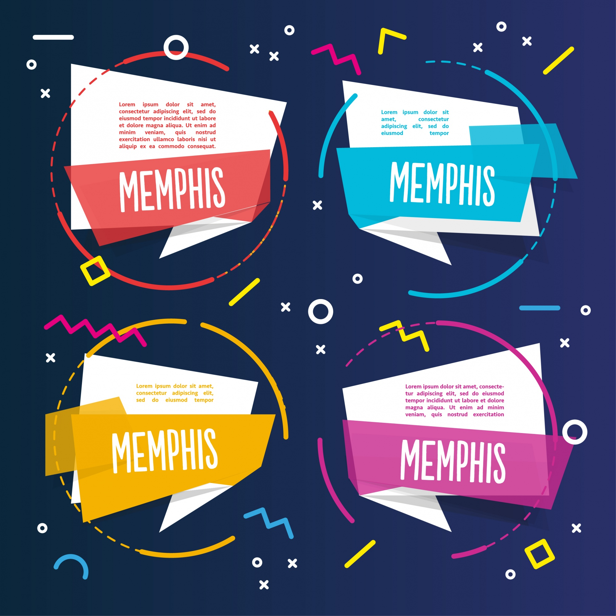 Four colorful memphis templates
