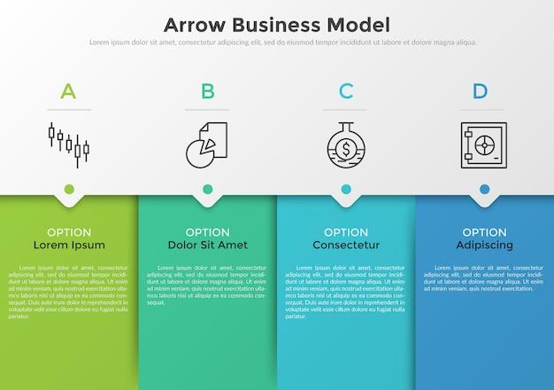 4つのカラフルな長方形の要素、細い線のピクトグラム、ポインター、テキストボックス。 4つの連続したステップを持つ矢印ビジネスモデルの概念。モダンなインフォグラフィックデザインテンプレート。ベクトルイラスト。