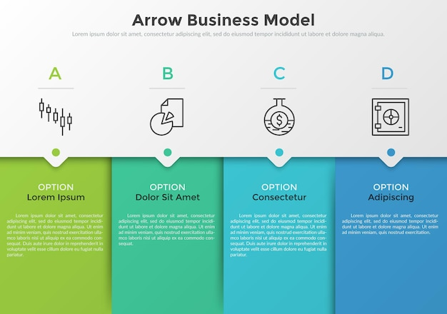 Four colorful rectangular elements, thin line pictograms, pointers and text boxes. concept of arrow business model with 4 successive steps. modern infographic design template. vector illustration.