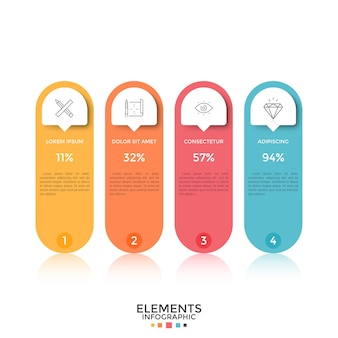 Four colorful separate rounded elements with thin line icons, place for text, numbers and percentage indication inside. concept of 4 options to compare. infographic design layout. vector illustration.