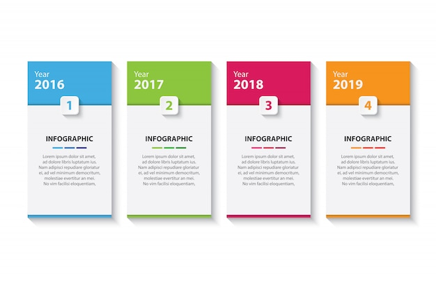Four colorful timeline infographic design template
