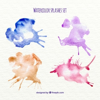 Four colorful watercolor splashes