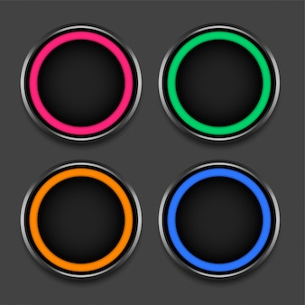 Four colors shiny frames or buttons set