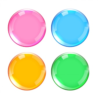 Four colors shiny glossy buttons set