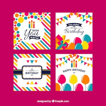 Четыре красочных поздравительных открытки