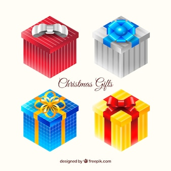 Four colourful christmas gifts