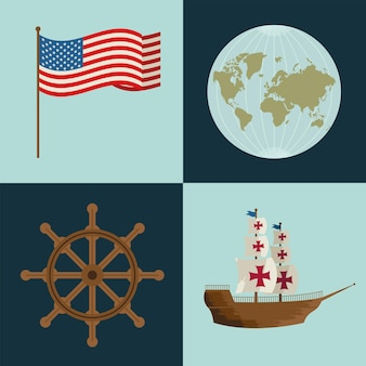 Four columbus day icons
