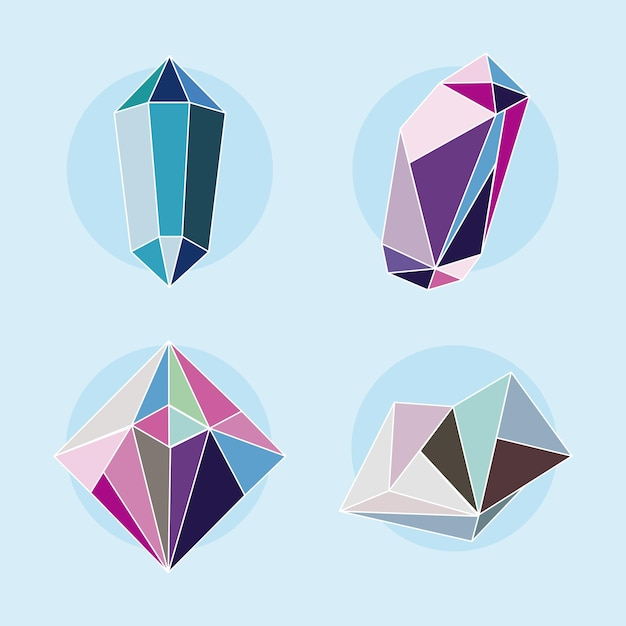 Four crystal gems luxury icons