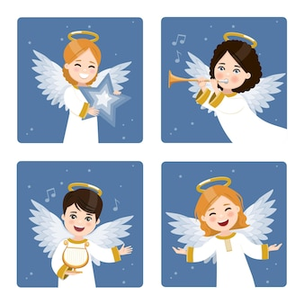 Four cute angels set on a dark sky with stars background.