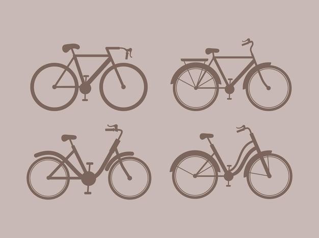 4개의 귀여운 자전거 실루엣