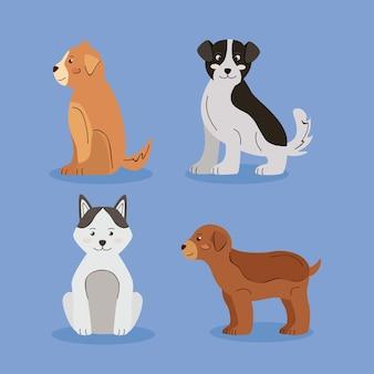 4つのかわいい犬のペットのアイコン