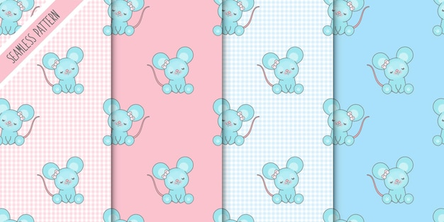 Four cute mice seamless patterns set