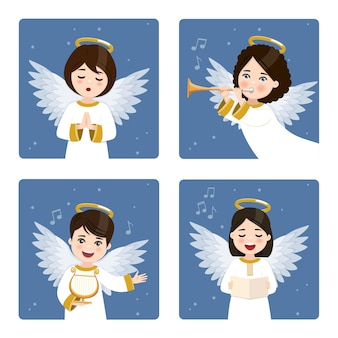 Four cute and musical angels set on a dark sky with stars background.