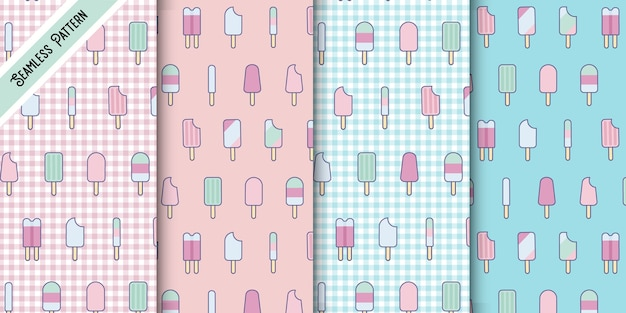 Four cute pastel colors kawaii popsicle seamless patterns set