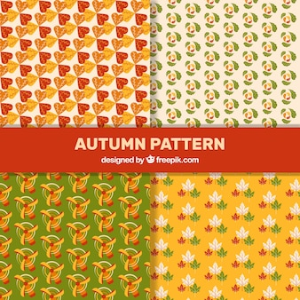 Four cute patterns with autumn leaves