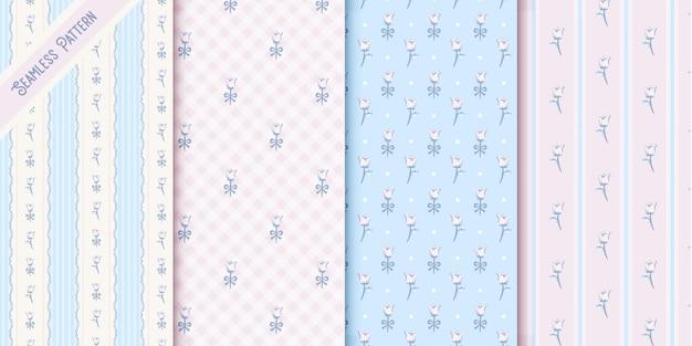 Four cute vintage floral seamless patterns set