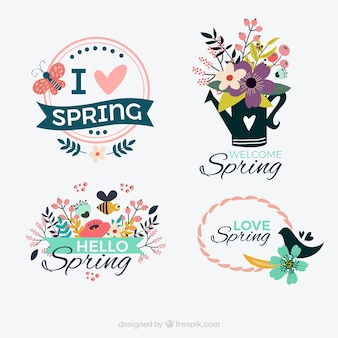 Four decorative spring stickers