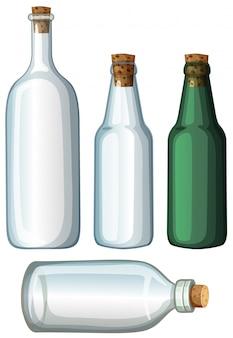 Four designs of glass bottles