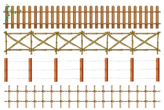Four designs of wooden fence illustration