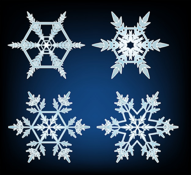 Four designs of snowflakes on blue background