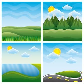 自然景観の4つの異なる美しい風景
