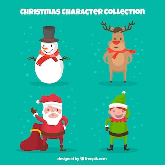 Four different christmas characters