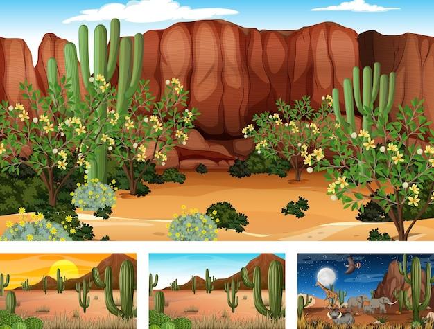 動物や植物の4つの異なる砂漠の森の風景シーン