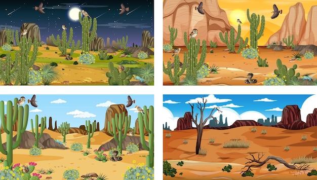 동물과 식물이 있는 4개의 다른 사막 숲 풍경