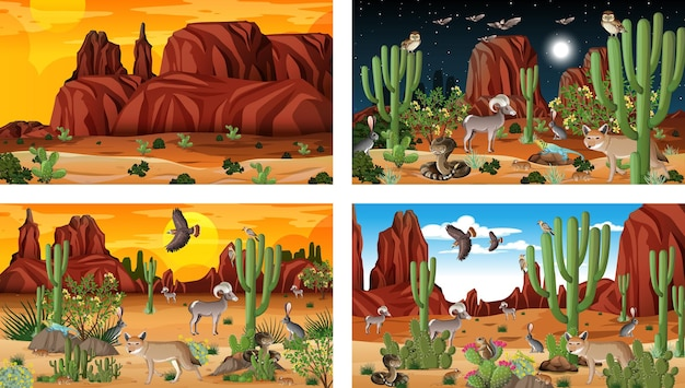 Four different desert forest landscape scenes with animals and plants