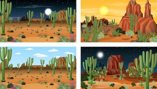 Четыре разных пейзажа пустынного леса с различными пустынными растениями