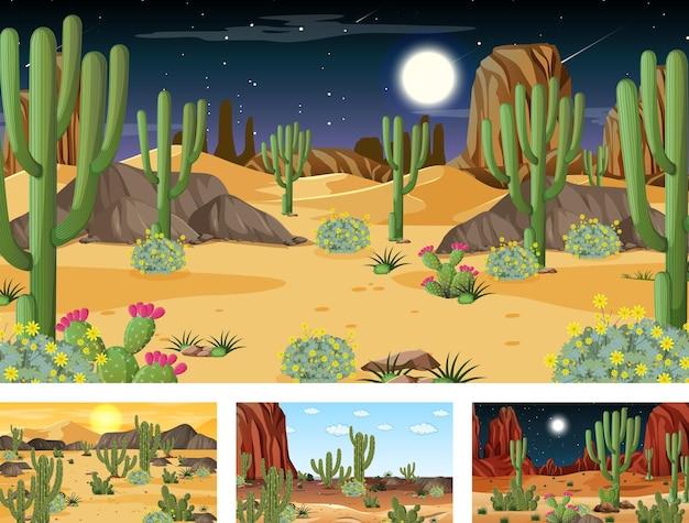 Четыре разных пейзажа пустынного леса с различными пустынными растениями Бесплатные векторы