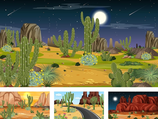 さまざまな砂漠の植物と4つの異なる砂漠の森の風景のシーン