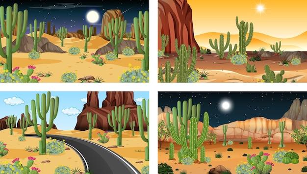 다양한 사막 식물이 있는 4개의 다른 사막 숲 풍경