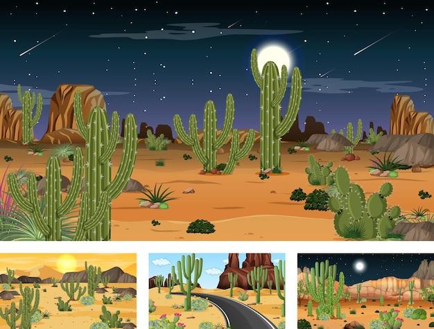 さまざまな砂漠の植物が生息する4つの異なる砂漠の森の風景シーン