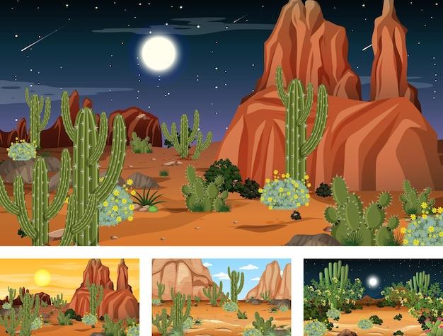 Quattro diverse scene di paesaggi della foresta del deserto con varie piante del deserto