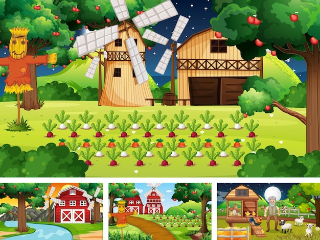 Four different farm scenes with animals