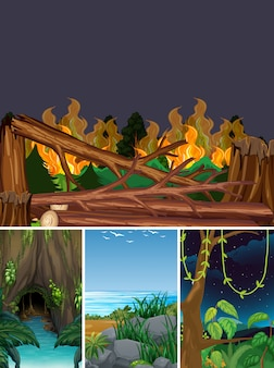 Four different natural disaster scenes of forest cartoon style