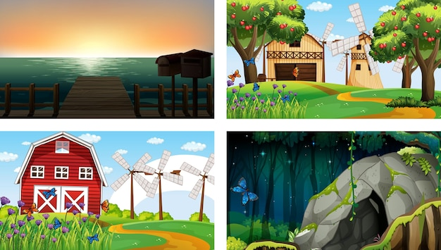 Four different nature horizontal scene