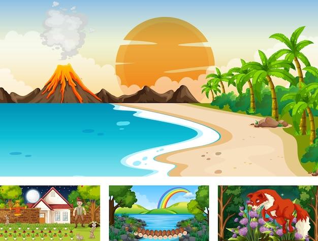Quattro scene orizzontali di natura diversa Vettore gratuito
