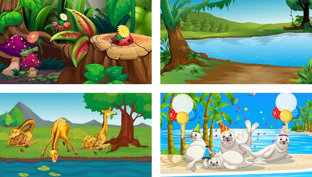 4つの異なる自然の水平方向のシーン