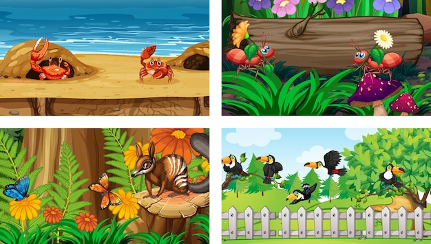 Четыре разных природы горизонтальных сцены
