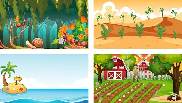 Четыре разных природы горизонтальных сцены Бесплатные векторы