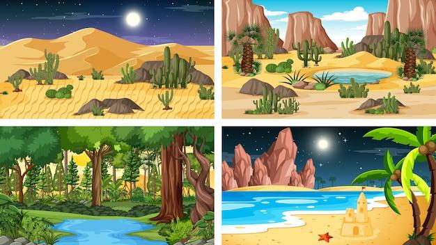 Four different nature horizontal scenes