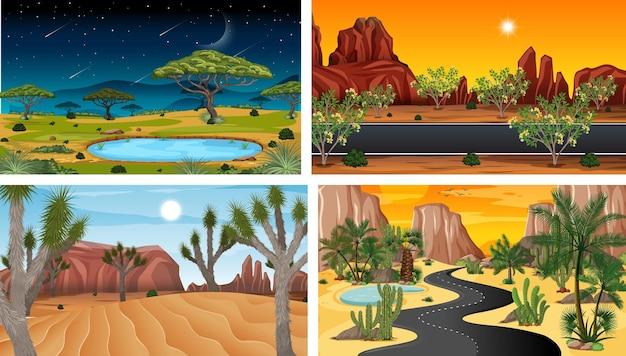 네 가지 자연 수평 장면