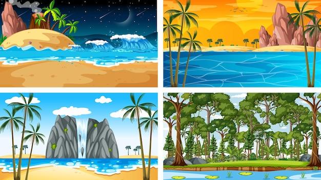 Четыре разных горизонтальных сцены природы