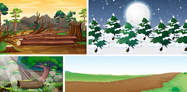 Four different nature scene of different season cartoon style