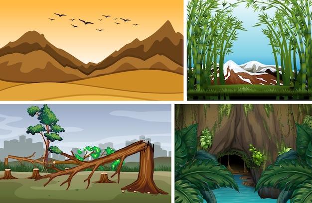 Quattro scene di natura diversa di stile cartone animato foresta